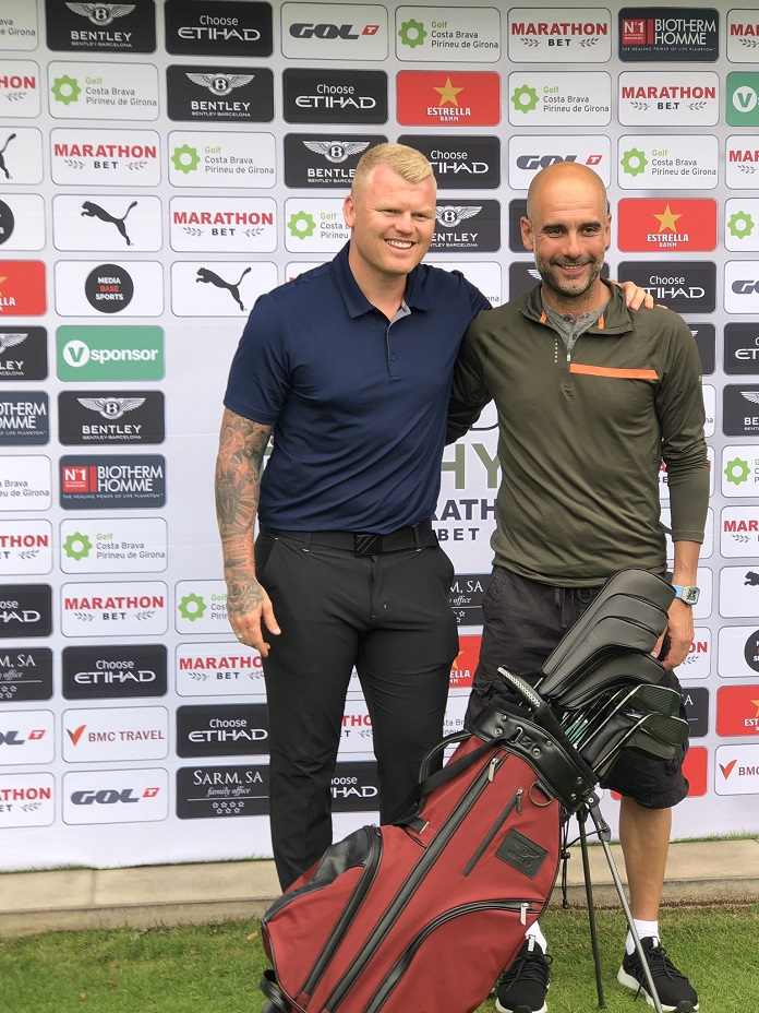Riise y Guardiola en el Legends trophy de golf